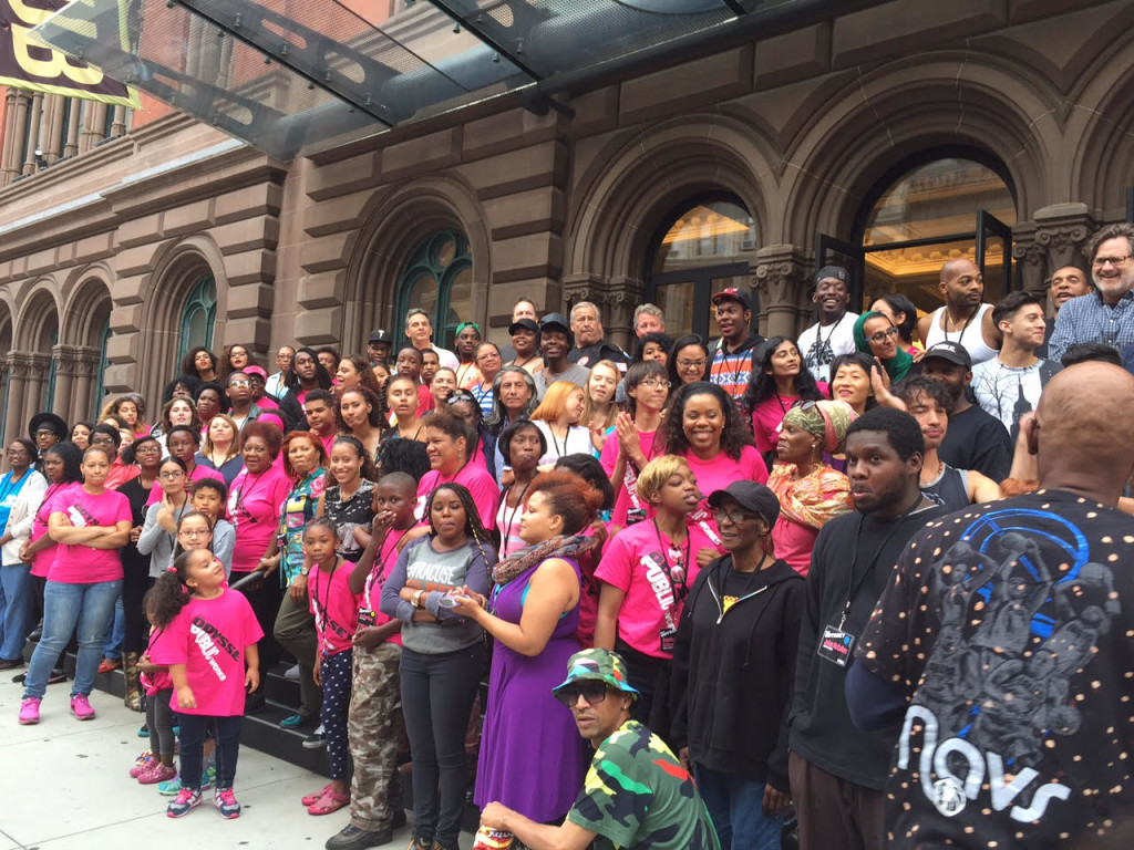 Over 100 of us gather on the steps of the Public Theatre to take the company photo.