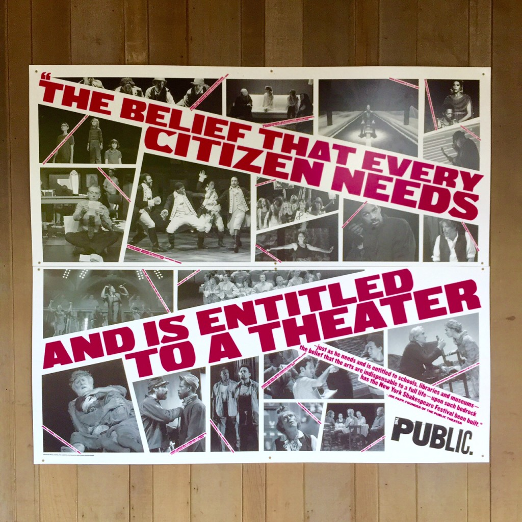 One of the Public Theater's declarations, posted outside the Delacorte Theater. As you stroll through Central Park, you can hear the cast rehearsing as we tech through the big musical numbers.